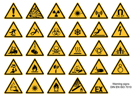 Illustration pour Warning sign collection DIN 7010 and ASR1.3 vector isolated on white background - image libre de droit