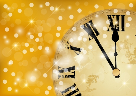 Twelve o Clock on New Year s Eve in colored gold
