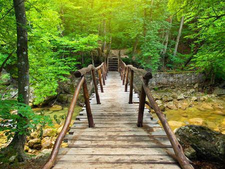Wooden bridge in the canyon