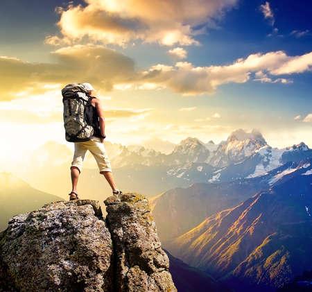 Tourist on the mountain peak