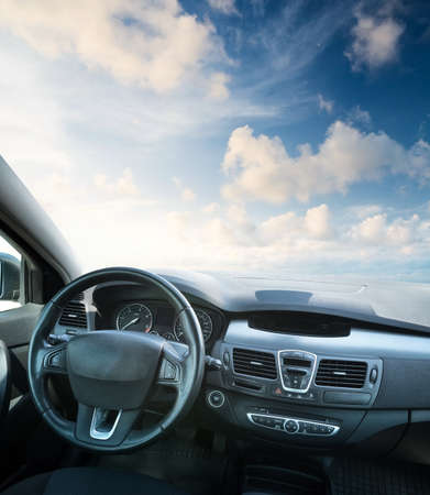 Car inside composition. Concept and idea