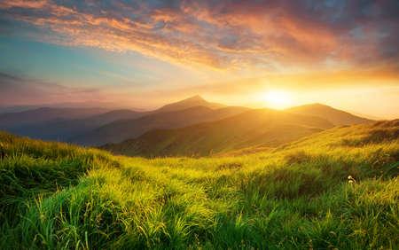 Photo pour Mountain valley during sunrise. Natural summer landscape - image libre de droit