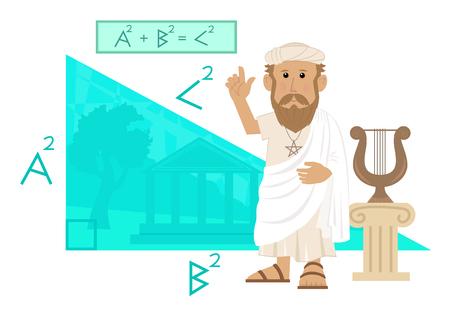 Illustration pour Pythagoras - Cute cartoon of Pythagoras pointing at his formula and a big right angled triangle with Greece landscape in the background.   - image libre de droit