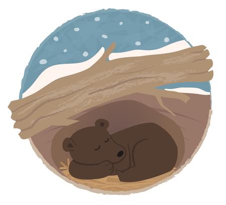 Ilustración de Clip art of a bear sleeping in his den. - Imagen libre de derechos