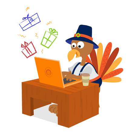 Illustration for Turkey wearing pilgrim clothes is shopping for presents online. - Royalty Free Image