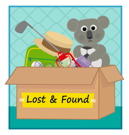 clip art of a lost and found box with lost items. Eps10