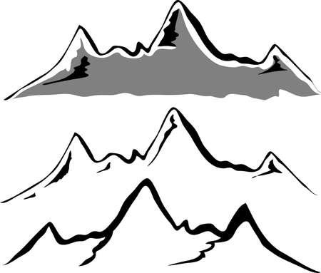 Illustration pour Black mountain silhouettes  - image libre de droit