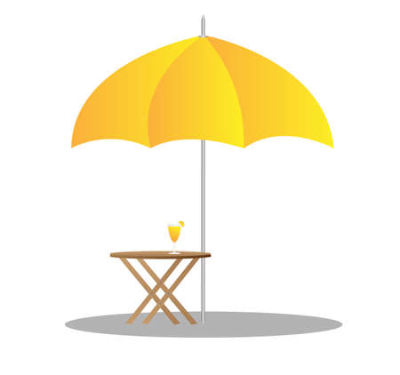 beach chairs under sunshade 3d illustration