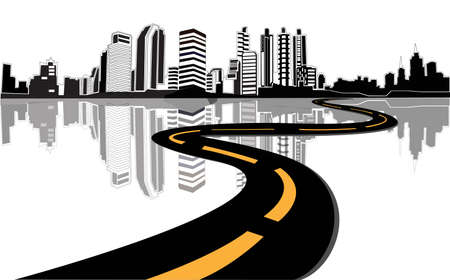 Photo for Vector - road leads to city  - Royalty Free Image