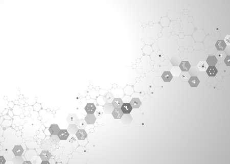 Illustration pour Dna molecule connection concept vector nervous system of cells black and white polygon - image libre de droit