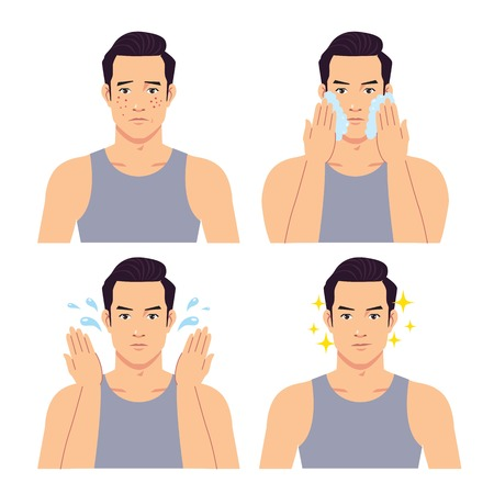 Illustration pour Stage illustration of a handsome man washing his face. - image libre de droit