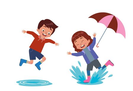 Illustration for boys and girls play with puddles happily - Royalty Free Image