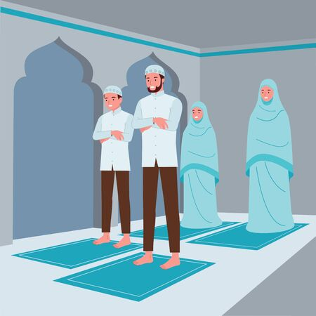 Illustration pour a Muslim family consisting of parents and their children are doing prayer in congregation in the mosque - image libre de droit