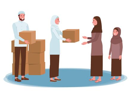 Illustration pour a Muslim man and woman distributing boxes containing donations for another Muslim woman. - image libre de droit