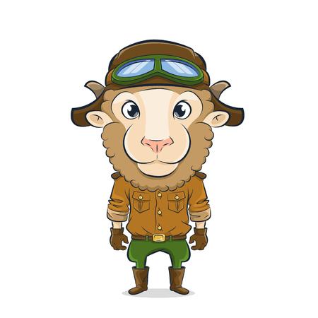 Cartoon lamb aviator.