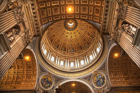 Vatican Inside Ceiling Michaelangelo's Dome Looking Up Rome Italy