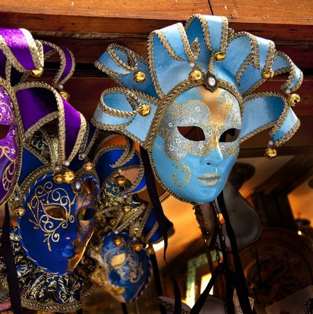 Blue Venetian Masks Venice Italy Used since the 1200s for Carnival, which were celebrated just before Lent.  In ancient times, Masks allowed the Venetians to do what was illegal, such as gambling.