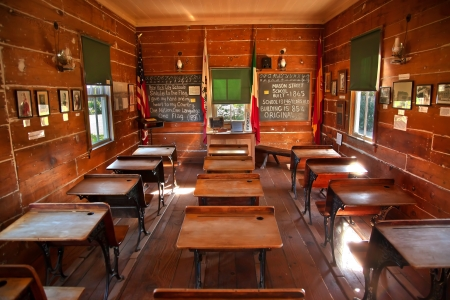 Old Mason Street Elementary School, Wooden Desks, Old San Diego, California One of the first elementary schools in California  Built 1865 and is 146 years old