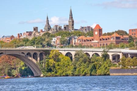 Key Bridge Potomac River Georgetown University Washington DC from Roosevelt Island