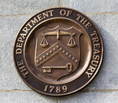 Present Bronze Seal Sign Symbol US Treasury Department adopted in 1968.  This seal has been used since 1968 until the present.