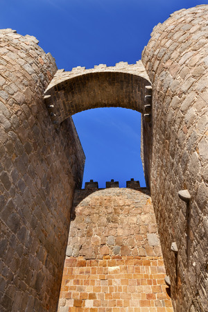 Walls Arch Castle Avila Castile Spain.  Described as the most 16th century town in Spain.  Walls created in 1088 after Christians conquer and take the city from the Moors