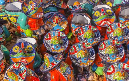 Colorful Souvenir Ceramic Mexican Peasants Hats Sombreros San Miguel de Allende Mexico