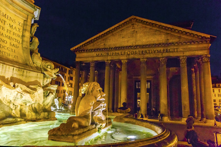 Della Porta Fountain Piazza della Rotunda Pantheon Night Rome Italy.  Fountain created in 1575 by Giacomo Della Porte.  Pantheon oldest Roman church and oldest intact Roman building built 118 AD on spot of old Pantheon created by General Agrippa under Emp