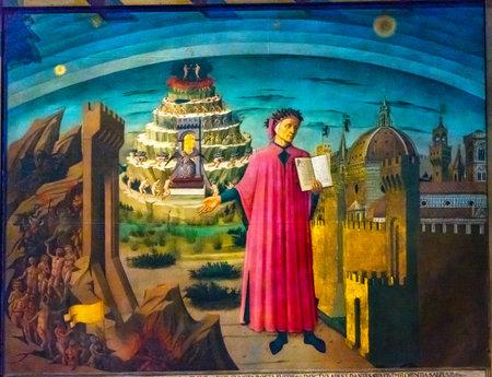 Foto de Domenico di Michelino Dante Divine Comedy Painting Duomo Cathedral Santa Maria del Fiore Church Florence Italy.  Painting created 1465 - Imagen libre de derechos