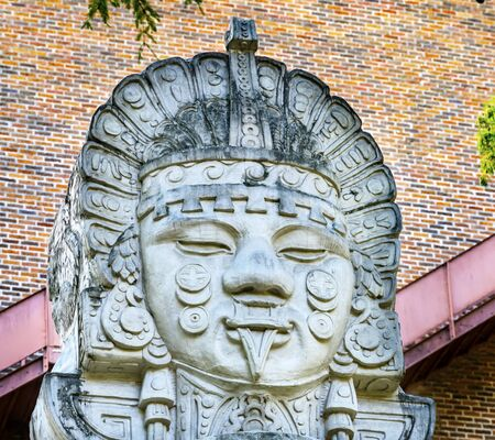 Photo for Aztec Mexican Statue River Walk San Antonio Texas. 15 Mile River Walk created in the 1960s to deal with flood problem. - Royalty Free Image