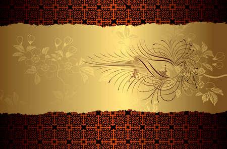 Blossom Bird Gold Background