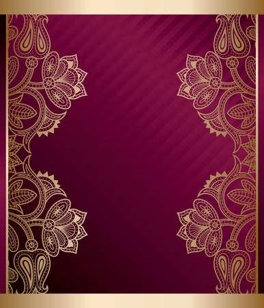 Purple Gold Floral Frame