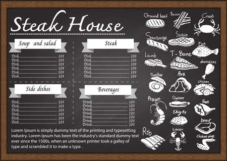 steak house menu on chalkboard design template royalty free vector