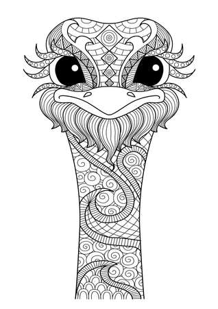 Hand drawn ostrich style for coloring page,t shirt design effect ...