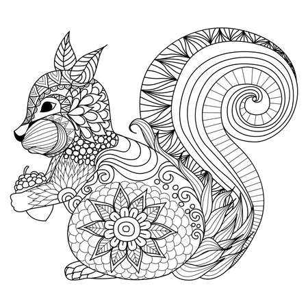 Lovely Squirrel Coloring Illustration