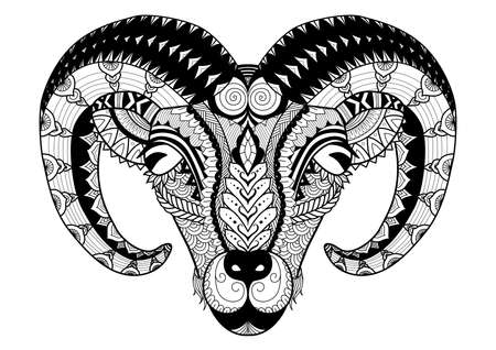 Horn sheep line art design for coloring book, t shirt design, tatoo and so on