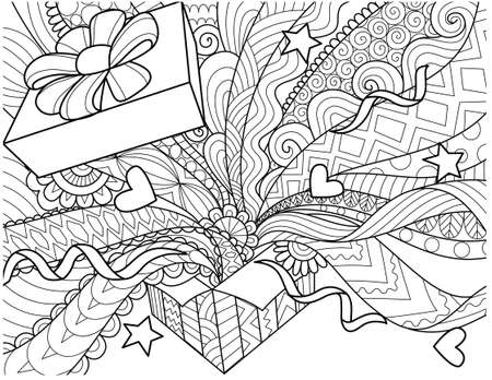 Line art design of openned gift box with confetti spread out of the box for design element and adult coloring book page. Vector illustration.