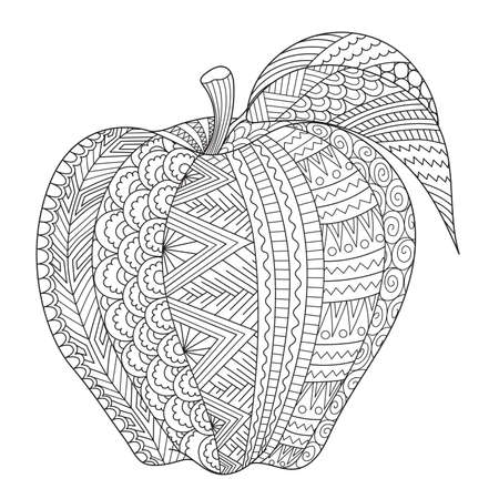 Illustration for Abstract line art of apple for adult coloring book, coloring page,engraving, tattoo, t shirt design and so on. Vector illustration - Royalty Free Image