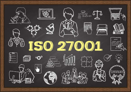 Illustration for Hand drawn illustration about ISO 27001 on chalkboard for presentation and web element. Stock Vector - Royalty Free Image