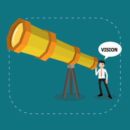 Vektor für Businessman searching smart vision for good future by amazing telescope, business vector for  looking future or good vision concept. - Lizenzfreies Bild