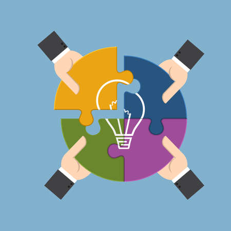 Group of businessman holding pieces of jigsaw puzzle bearing a light bulb, represent for team support, brainstorm or success to find  perfect idea concept.