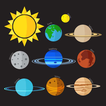 Flat style Solar system vector icon