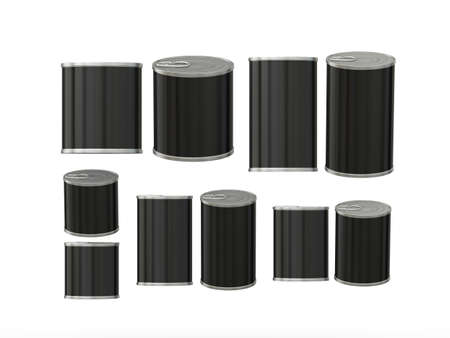 Set of blank tin cans in various sizes . General can  packaging  with white blank label  for variety food product ,ready  for  your design or artwork, clipping path included