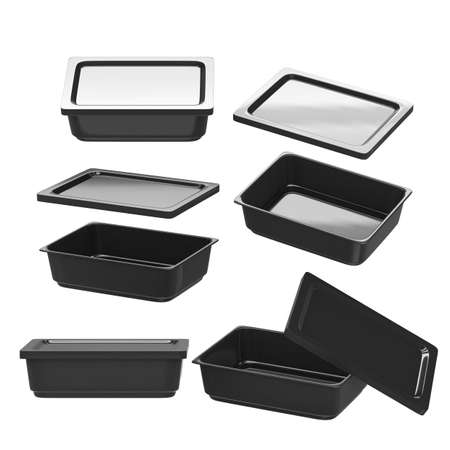 Black rectangle plastic container for food production like fresh food, convenience food or frozen food.