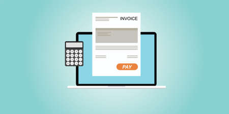 Digital invoice laptop or notebook with calculator