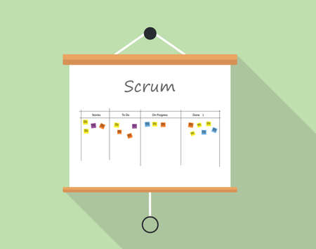 Illustration pour Scrum project development and managemet with presentation board illustrated - image libre de droit