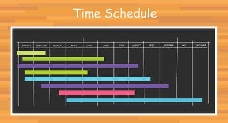 project timeline schedule month bar with blackboard board