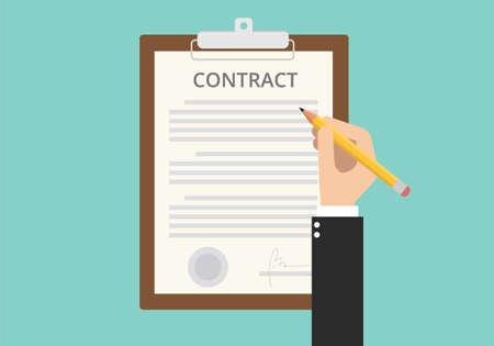 Illustration pour signing sign contract paper document on clipboard - image libre de droit