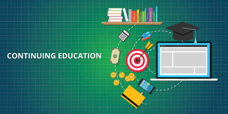 continuing education process illustrated with books, goals, target, money, and smartphone