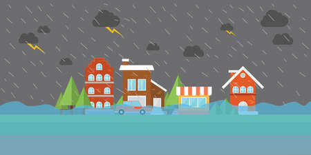 Ilustración de city flood flooding water in city street building store house home town - Imagen libre de derechos