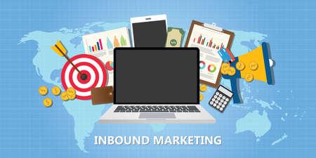 Illustration pour inbound marketing concept with graph data goals target illustration vector - image libre de droit